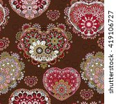 seamless lace pattern of heart... | Shutterstock . vector #419106727