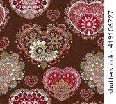 seamless lace pattern of heart... | Shutterstock . vector #419106727