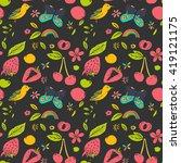 summer doodle seamless pattern... | Shutterstock .eps vector #419121175
