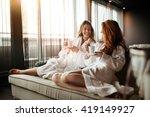 women relaxing and drinking tea ... | Shutterstock . vector #419149927