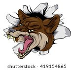 a cartoon coyote animal sports... | Shutterstock .eps vector #419154865