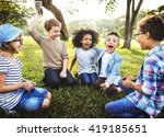 Kids Playing Cheerful Park Outdoors - Fine Art prints