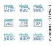 calendar thin line icons set.... | Shutterstock .eps vector #419196145