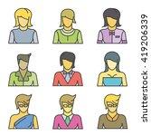 female avatar  people icons set ...