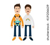 gay family. two fathers with... | Shutterstock . vector #419206639