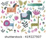 safari animals watercolor... | Shutterstock . vector #419227507