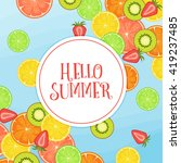 hello summer vector background... | Shutterstock .eps vector #419237485