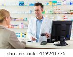 pharmacist and client at...   Shutterstock . vector #419241775