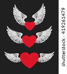 Winged Heart. Set Of Three Red...