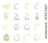 set of outlines of fruit ... | Shutterstock .eps vector #419271667