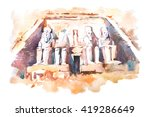 Abu Simbel Temples Watercolor...
