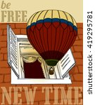 a new journey in a balloon | Shutterstock .eps vector #419295781