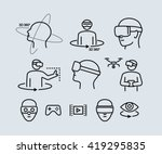 Stock vector virtual reality vector icons 419295835