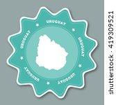 uruguay map sticker in trendy... | Shutterstock .eps vector #419309521
