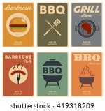 set of barbecue  vintage posters | Shutterstock .eps vector #419318209