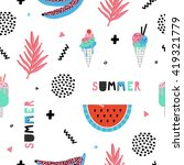 summer seamless pattern with... | Shutterstock .eps vector #419321779