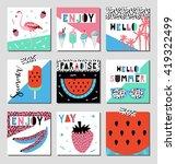 vector set of bright summer... | Shutterstock .eps vector #419322499
