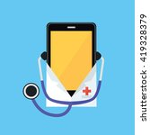 phone in a white coat and... | Shutterstock .eps vector #419328379