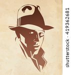 silhouette of man in a hat and... | Shutterstock .eps vector #419362681