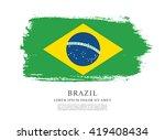 brazilian flag made in brush... | Shutterstock .eps vector #419408434