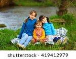 the children happy outdoors...   Shutterstock . vector #419412979