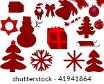 collection of Xmas vector silhouettes - stock vector