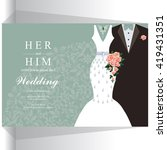 wedding invitation or card with ... | Shutterstock .eps vector #419431351