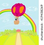 family flying a hot air balloon ... | Shutterstock . vector #419438269