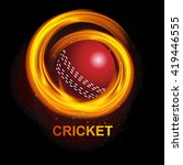 illustration of fiery cricket... | Shutterstock .eps vector #419446555