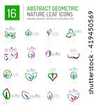 geometric leaf icon set. thin... | Shutterstock .eps vector #419450569