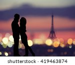 silhouette of romantic lovers... | Shutterstock . vector #419463874