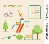 kids playground  city park set. ... | Shutterstock .eps vector #419472871