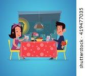 loving couple in restaurant.... | Shutterstock .eps vector #419477035
