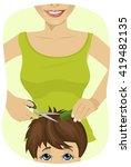 little boy getting a haircut at ... | Shutterstock .eps vector #419482135