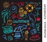 vector hand drawn doodle set of ... | Shutterstock .eps vector #419485549