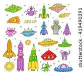 vector set with color cartoon...   Shutterstock .eps vector #419490391