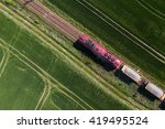 aerial view of the train on the ... | Shutterstock . vector #419495524