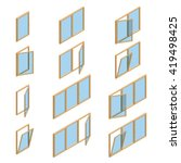 various windows types. flat 3d... | Shutterstock .eps vector #419498425
