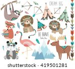 Stock vector cute woodland tribal animals volume 419501281