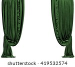 Green Stage Curtain. Isolated...