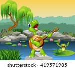 Cute Turtle Playing Guitar On...