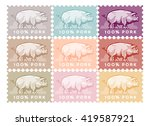pig postage stamp. animal... | Shutterstock .eps vector #419587921