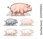 pig color symbol. animal vector ... | Shutterstock .eps vector #419590051