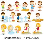 girls and boys doing chores... | Shutterstock .eps vector #419600821