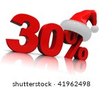 3d illustration of thirty percent sign with red christmas hat - stock photo