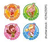 set of four stickers with happy ... | Shutterstock .eps vector #419625091