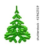 abstract 3d illustration of stylized christmas tree isolated over white - stock photo