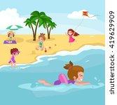 children summertime vacation... | Shutterstock .eps vector #419629909