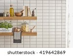 modern kitchen shelf with white ... | Shutterstock . vector #419642869
