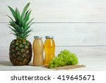 glass bottles with the juice... | Shutterstock . vector #419645671